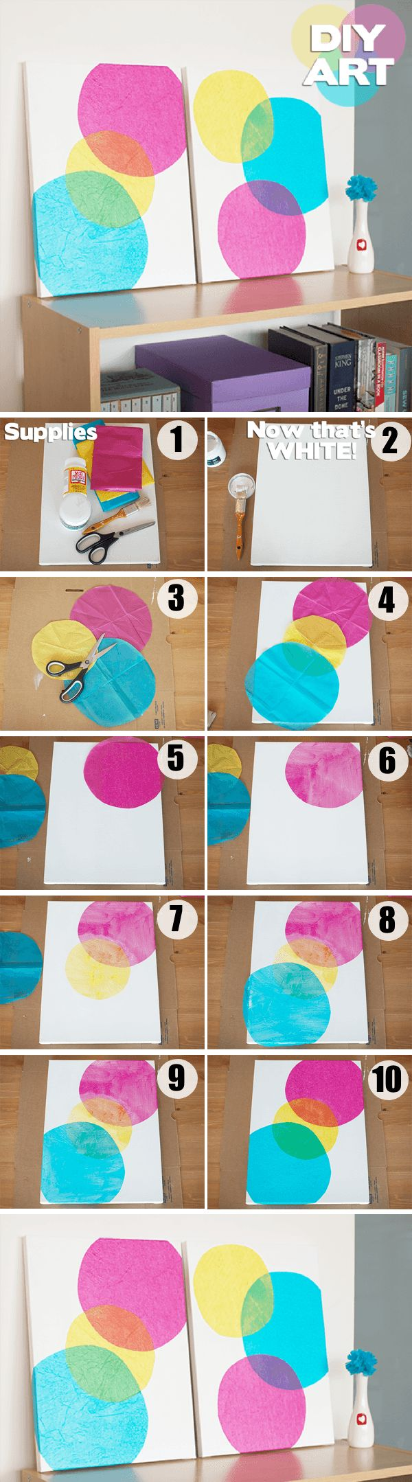 Tissue Paper Wall Art // This amazing project will cost you almost nothing and looks amazing.