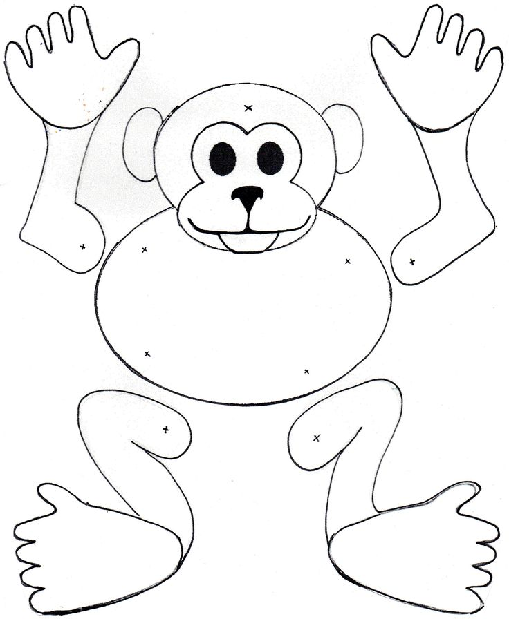 Mm monkey puppet.  Colour, Cut and secure joints with split pin paper fasteners. Watch your monkey dance.