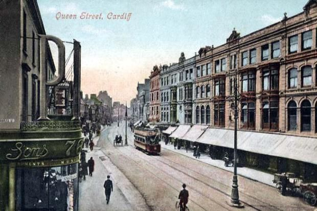 Old Postcard, Queen Street, Cardiff