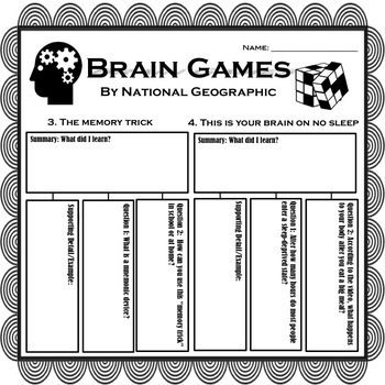 Brain Games By National Geographic Worksheets Easy Sub Plans Brain Games How To Plan National Geographic