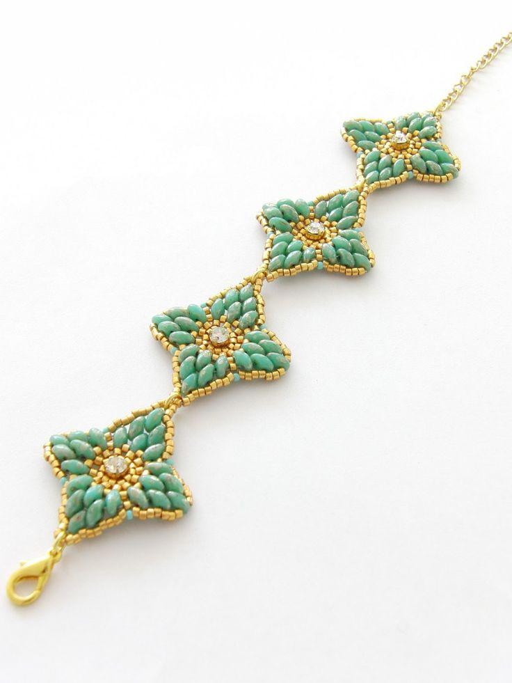 браслет Марта из бисера стразов и бусин с двумя отверстиями схема плетения