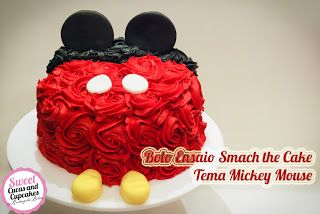 Sweet Cucas and Cupcakes by Rosângela Rolim: Bolo Ensaio Smach the Cake - Tema Mickey Mouse