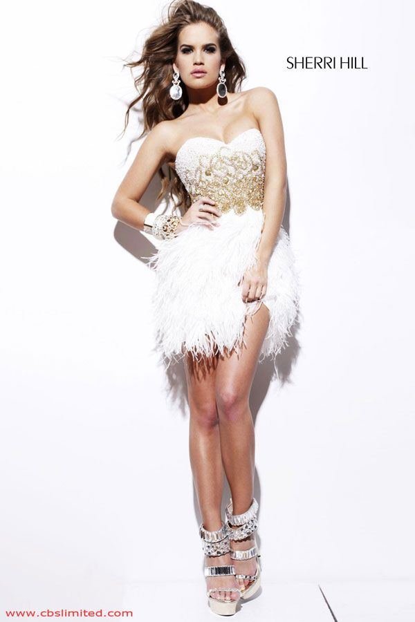 White Strapless Short Mini Feathers Fur Tail Dress For Sweet 16