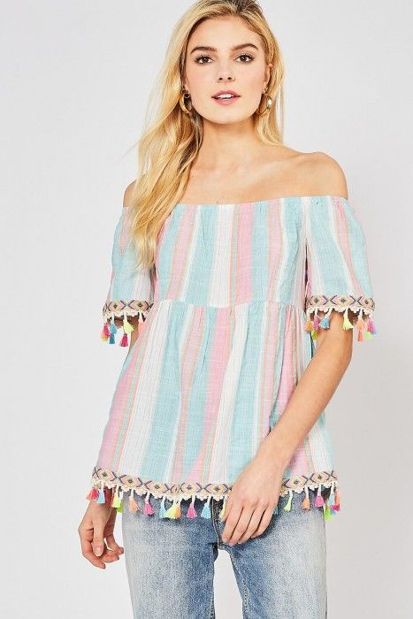 3e646a372bea2b Entro Aqua and Pink Stripe Off-Shoulder Top with Colorful Tassel Trim
