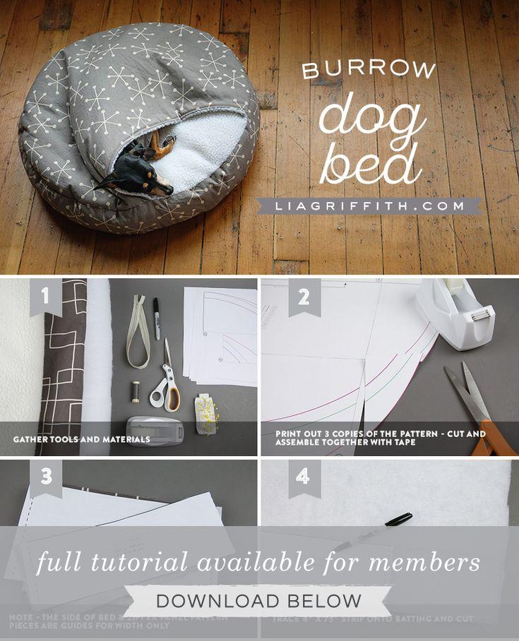 How to Make a DIY Burrow Dog Bed Homemade pet beds, Diy