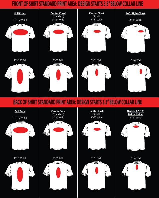Standard T Shirt Dimension And Placement Chart Screen