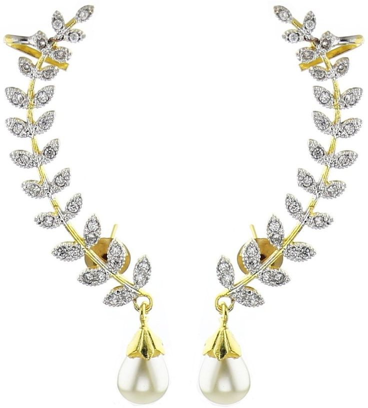 #BuyFromLink --> http://fkrt.it/h2QWeuuuuN Bandish Gold toned Leaf Design Pearl Cubic Zirconia Alloy Cuff Earring #EarCuff #Earring #Indianfashion #Gorgeous #look #style  #Shop #Buy #online #india This gorgeous pair of gold toned ear cuff earrings by Bandish Collections is studded with American Diamonds. The dropping pearl just adds to its beauty.
