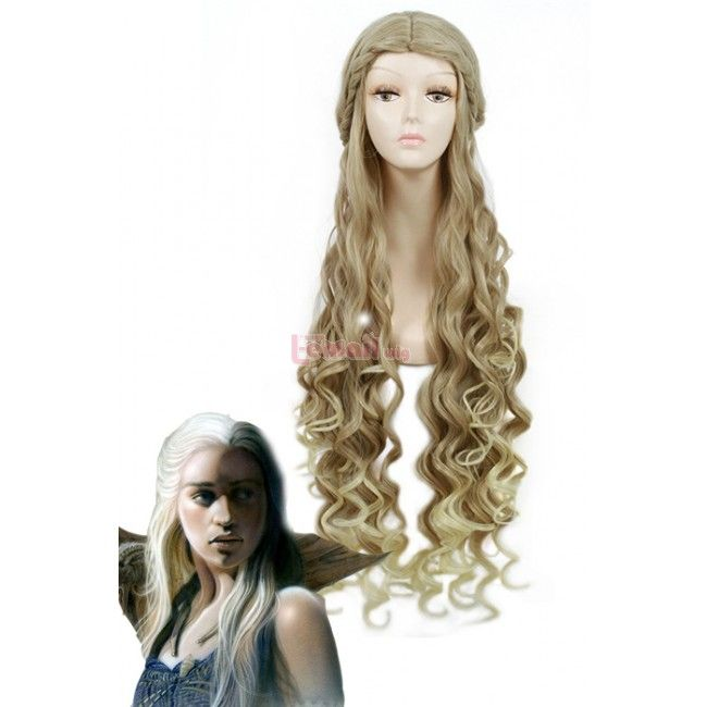 100cm light Blonde wig Game of Thrones wavy cosplay hair ZY124