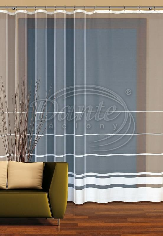 Záclona SAVA       Bílá záclona s příčnými pruhy.     V dolní části jsou pruhy širší a blíže u sebe.