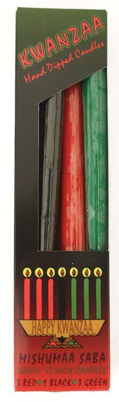 """Don't Forget the Candles! Get three green, three red, and one black candle to complete your kwanzaa set. 12"""" long. Unscented. Made in the USA. M-203"""