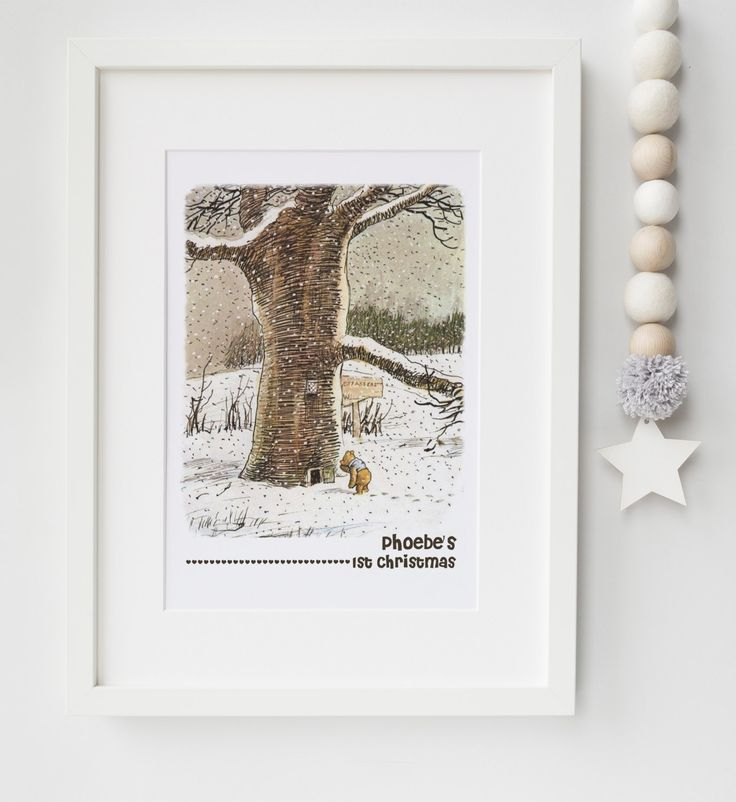 144 best lexis little prints images on pinterest personalised personalised winnie the pooh babys first christmas boygirl nursery name print keepsake picture gift negle Image collections
