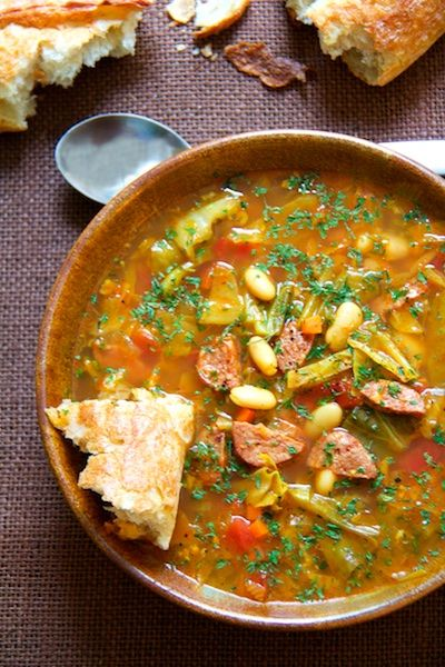 Farmhouse Cabbage Soup with Cannellini Beans and Kielbasa - A rustic and hearty soup to get you and your crew through cold weather!