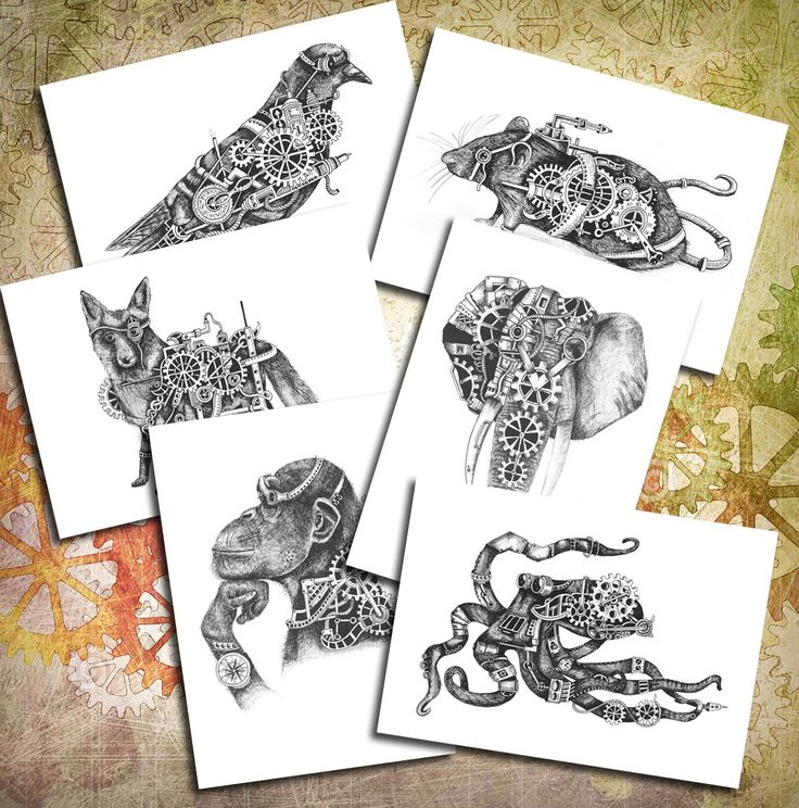 Steampunk Animals DOWNLOADABLE Postcards High resolution page for INSTANT DOWNLOAD! by SquidoodleArt on Etsy https://www.etsy.com/uk/listing/480527141/steampunk-animals-downloadable-postcards