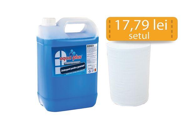 Un set format dintr-un bidon de detergent de geam la 5L Aqua Plus si o rola de prosop Stok 75 (cod 70301) la doar 17,79lei/set!
