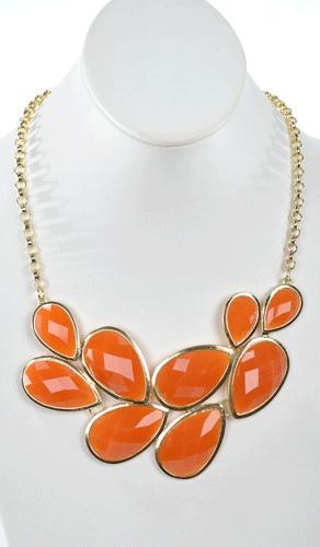 Orange peacock tail necklace ($24)