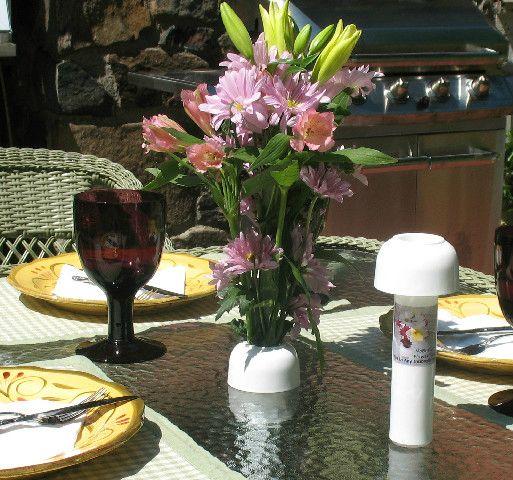 NoBrella Flower Vase: The NoBrella Umbrella Hole Flower Vase Fits Into Your Patio  Table Umbrella