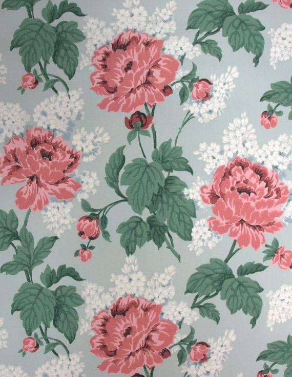 1940's Vintage Wallpaper  Floral Wallpaper by HannahsTreasures, $14.00