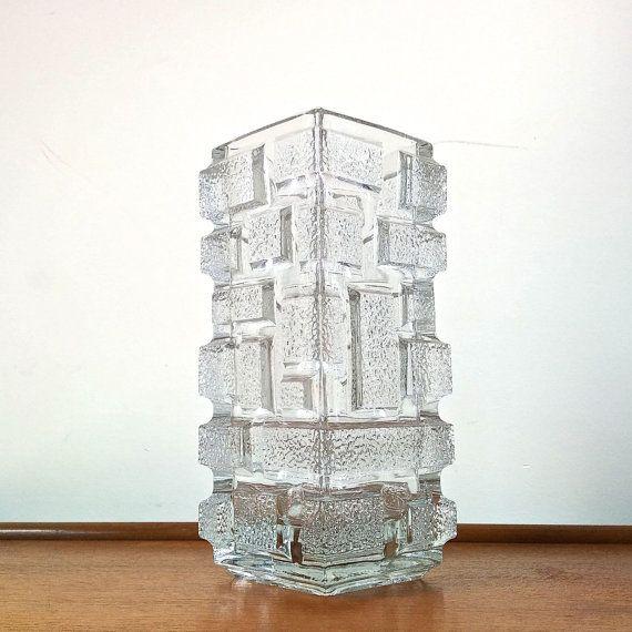 SKLO Union Rudofolva Hut Glassworks Brickwork Vase designed by Jiri Zejmon 1969