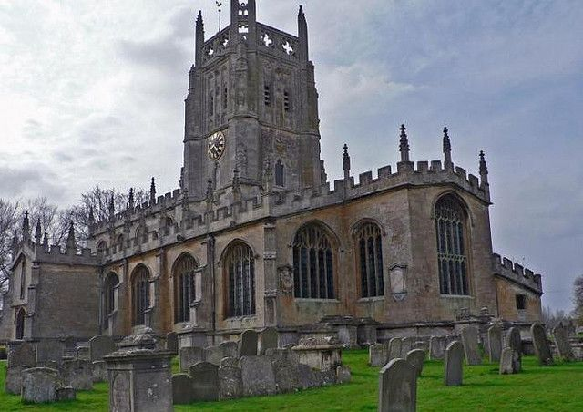 Fairford Church, famous for its stained glass windows which were taken out during WWII and buried in a safe out-of-the-way place. Fairford, Glos.