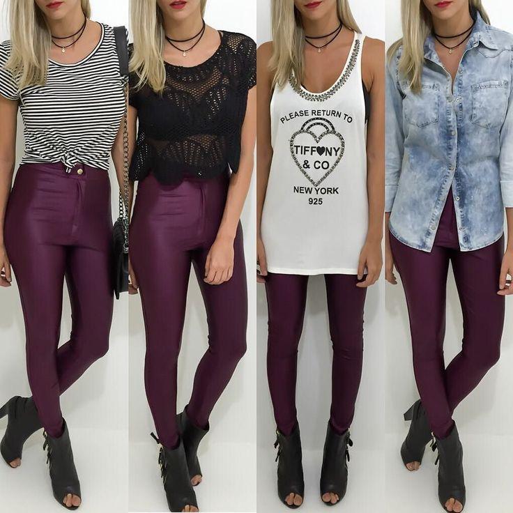 Proposta de looks com a calça disco pants vinho. Qual vocês preferem? 1 2 3 ou 4?