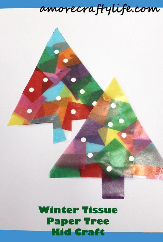 Winter Tissue Paper Christmas Tree Kid Craft Christmas Kid