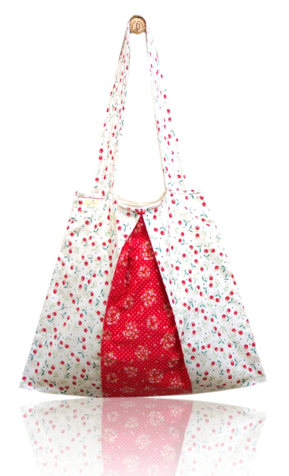 Red Cherries Lined Tote Bag via Etsy
