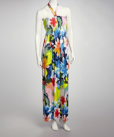 Take a look at this Yellow & Pink Tropical Flower Halter Maxi Dress by Just Love on #zulily today!