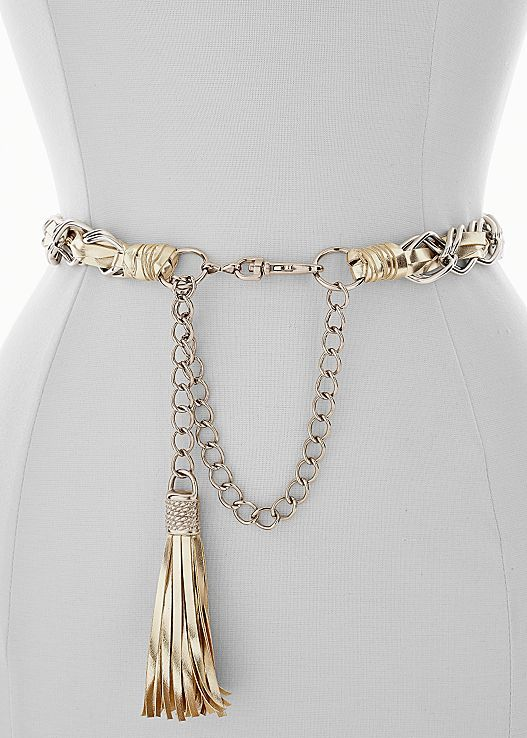 Here's to the right amount of edge! Venus tassel chain belt.