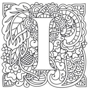 Mendhika Letter I Design UTH10945 From UrbanThreads Alphabet ColoringMehndi