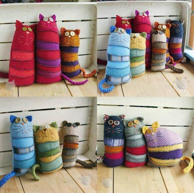 Cute cats - no link but these appear to be pieced sweater sleeves or socks w/crocheted ears & tails. I see furbeast pincushions with felt appointments.........