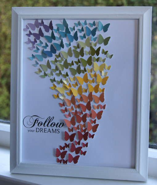 This is done with paint chip samples.  I can think of ten types of shapes (like butterflies) that I could do this with.  Plus you can make this a group project in which everyone does a little part but you put it all together.