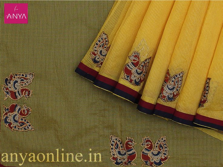 Elegant Yellow Kalamkari patch cotton saree by Anya Botique Coimbatore  https://www.anyaonline.in/index.php?route=pavblog/blog&id=18  #‎anya‬ ‪#‎anyacbe #kalamkari_sarees  #ikkat_sarees #cotton_sarees