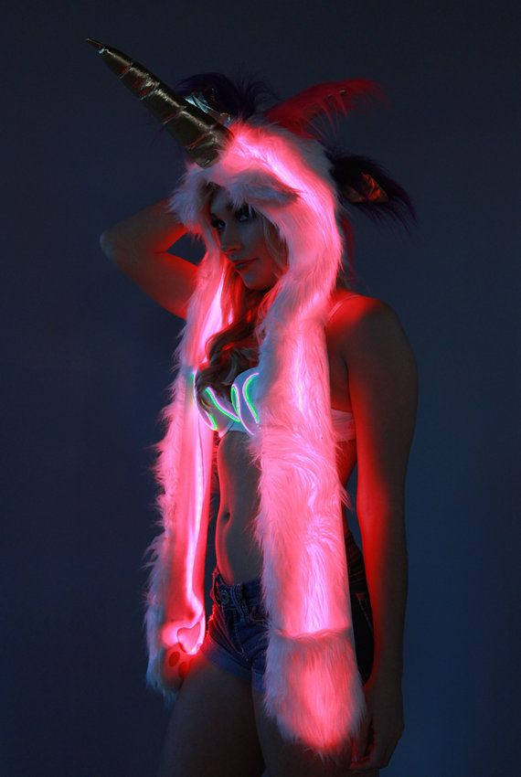 Unicorn fur hood with ultra bright color control LEDs ...