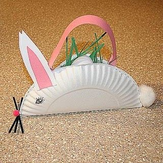 bunny baskets made from a paper plate and construction paper.