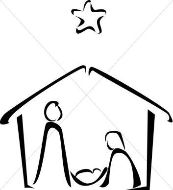 Black and White Nativity Sketch | Nativity Clipart