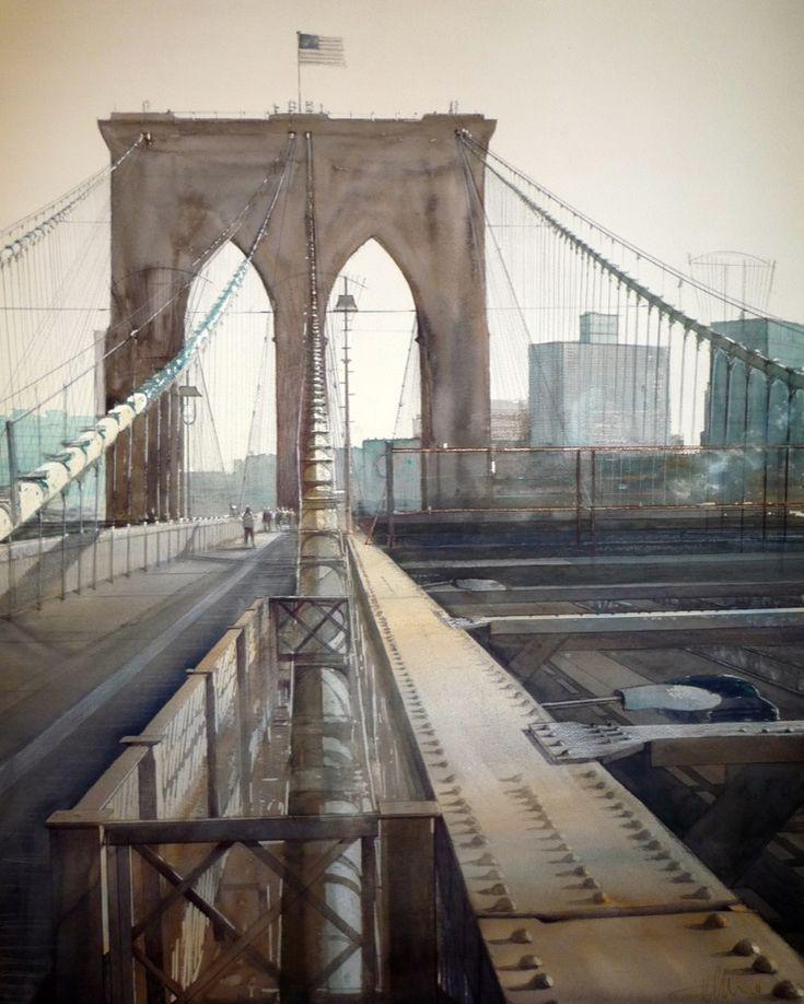 Charles Villeneuve (French, b. 1971) - Brooklyn Bridge - Watercolor