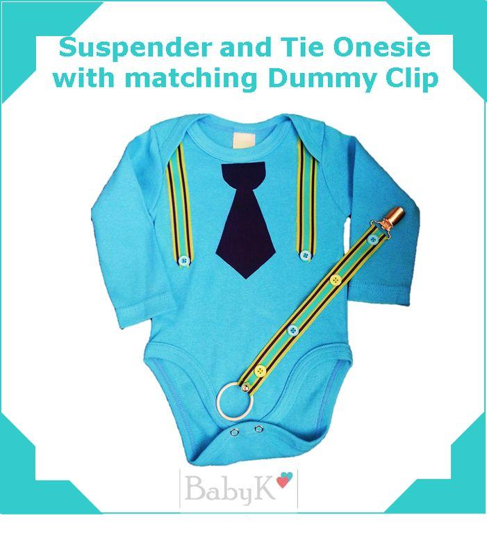 BabyK Suspender and Tie Onesie with matching Dummy Clip.