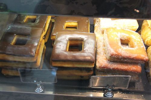 square donuts (someone calculated: Square donuts have 27% more donut per donut in the same space as a round one)