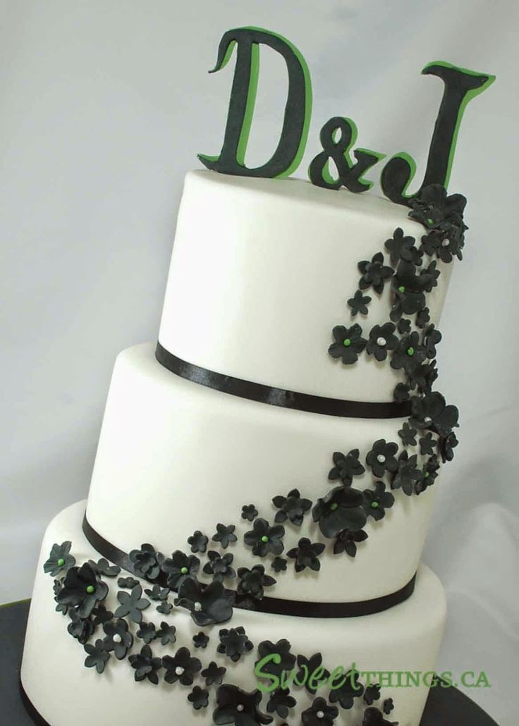 Green Black And White Wedding Cakes