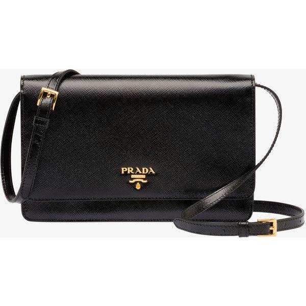 PRADA Small Bag ($1,190) ❤ liked on Polyvore featuring bags, handbags, purses, bolsas, clutches, black, women, logo handbags, black patent leather handbag and accessories handbags