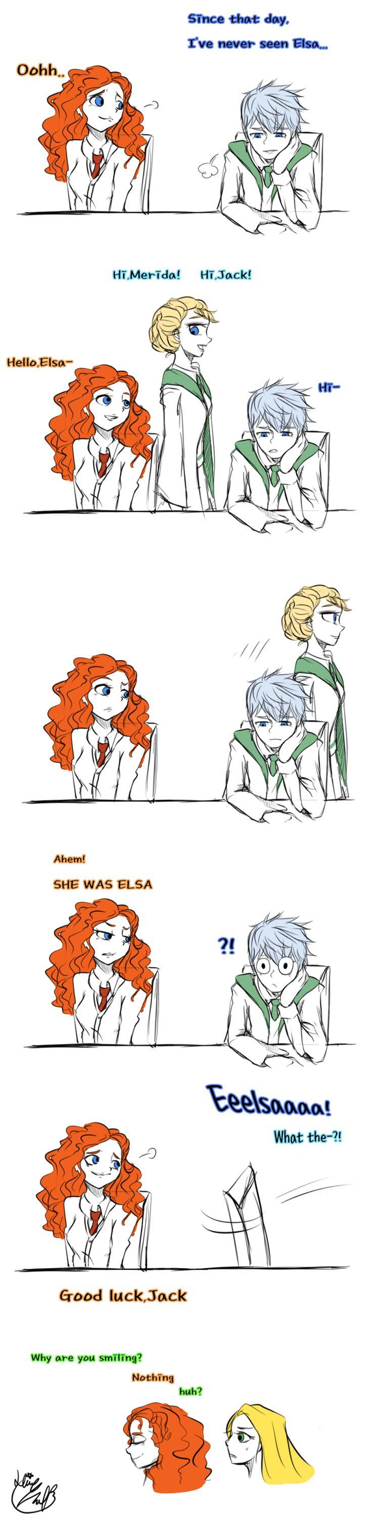 jelsa: jack frost: rapunzel: merida: the big four: elsa: Good luck,buddy (doodles) by Lime-Hael.deviantart.com on @deviantART