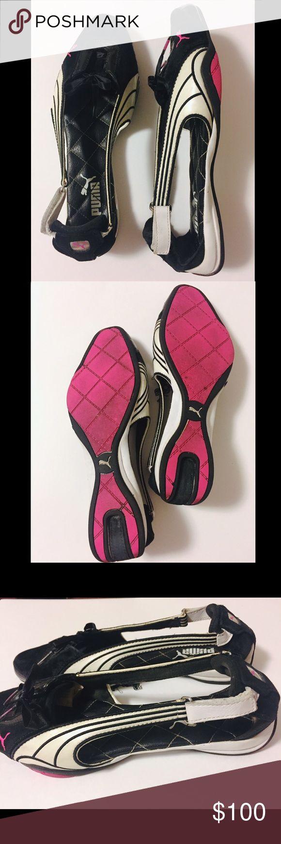 Puma black velcro sandals - Puma Unique Black Pink Genuine Leather Sandals