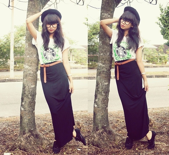 Maxi Skirt, Oxford Shoes | Bangs tidy.