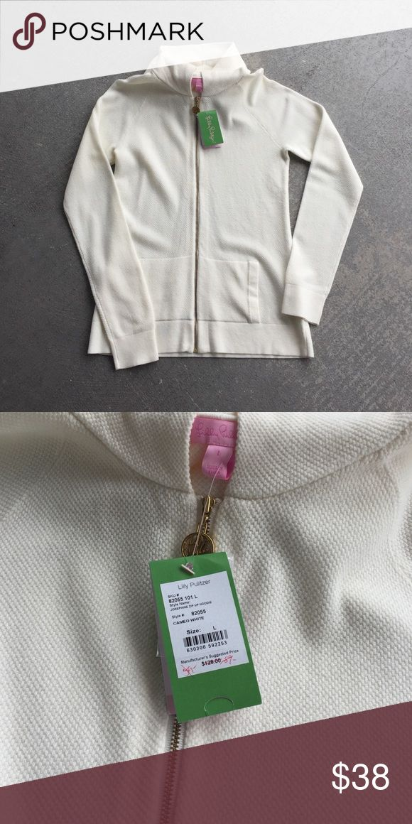Lilly Pulitzer hoodie Cream zip up hoodie.  60% cotton, 24% viscose, 16% nylon Lilly Pulitzer Tops Sweatshirts & Hoodies
