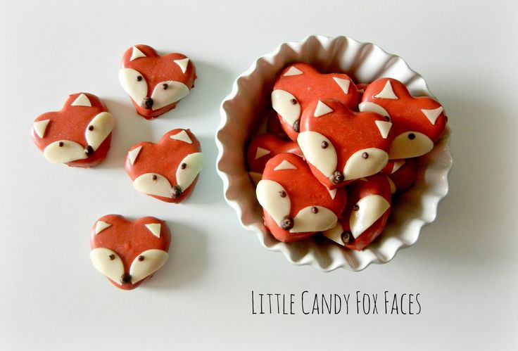 Candy Foxes for Valentines Day - made from heart shaped peppermint patties and vanilla tootsie roll