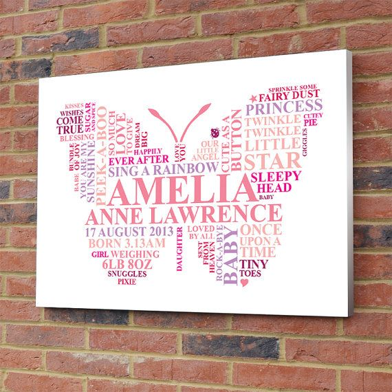 Personalised Butterfly Word Art. New baby girl gift. Nursery picture newborn birth christening printable present, unique typography on Etsy, $15.76