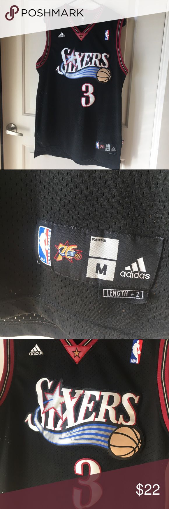 Allen Iverson Sixers jersey Allen Iverson Sixers jersey. Adidas size medium. There is a small stain as shown on the number 3 as shown in the pictures. I offer discounts for bundles and welcome offers :) vintage NBA jersey! adidas Shirts