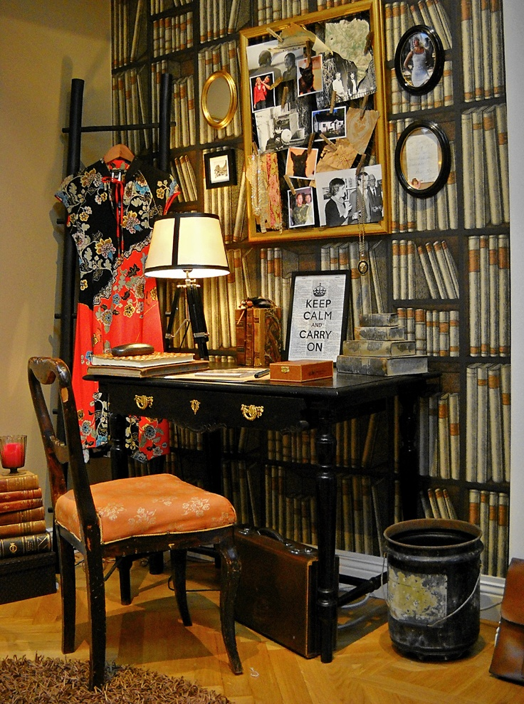 """My corner of productivity! #Vintage desk and chair, #DIY gold frame with wooden pins. #Wallpaper Fornasetti """"Ex Libris"""" from Cole and Son. LOVE THIS IDEA"""