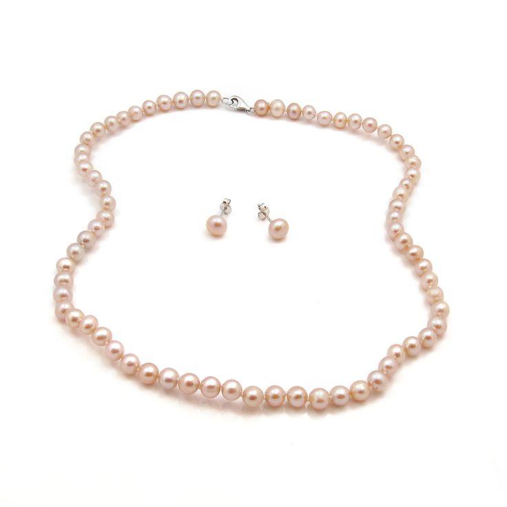 Set Orchira cercei și colier argint cu perle de cultură roz