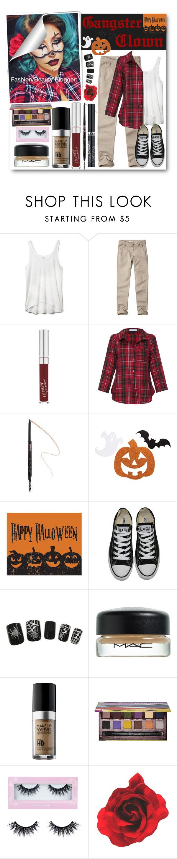 """""""Halloween Tricks: Chrisspy's Gangster Clown"""" by eclectic-chic ❤ liked on Polyvore featuring мода, Rebecca Minkoff, Abercrombie & Fitch, Vitamin, Anastasia, Sixtrees, Converse, MAC Cosmetics, MAKE UP FOR EVER и Anastasia Beverly Hills"""
